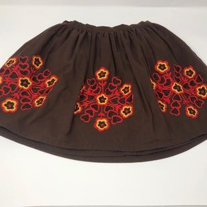 Old Navy Embroidered Flower Brown Skirt 5T